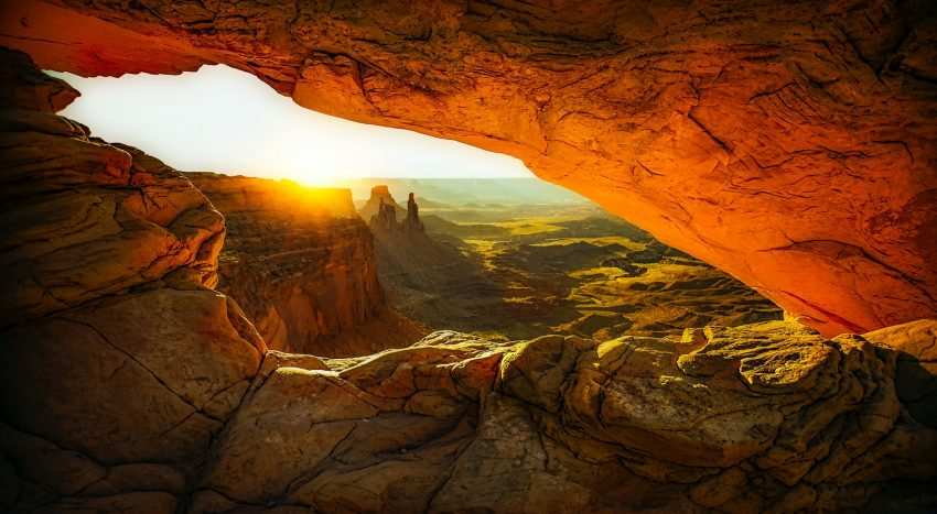 orange and brown cave