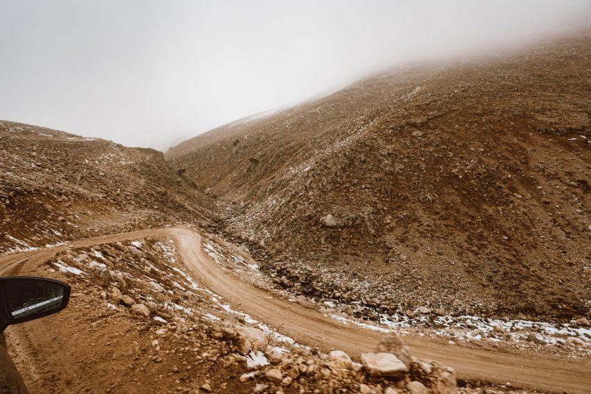 snow road landscape sand